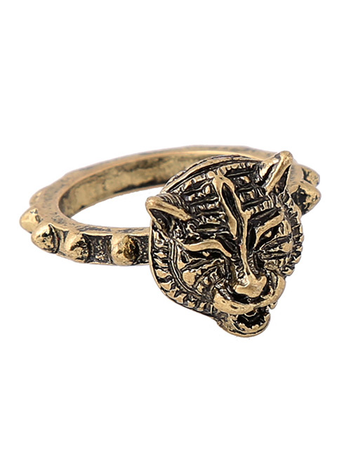 Fashion Gold Color Tiger Shape Decorated Simple Ring