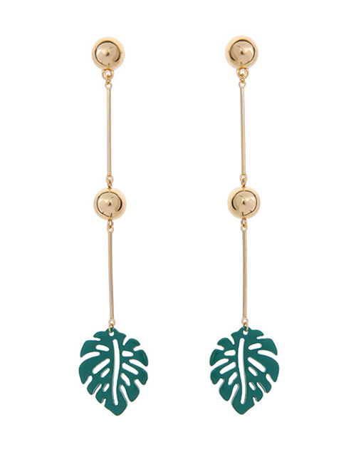 Fashion Gold Color Leaf Pendant Decorated Long Earrings