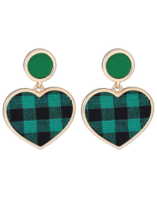 Fashion Green Gird Pattern Decorated Heart Shape Earrings