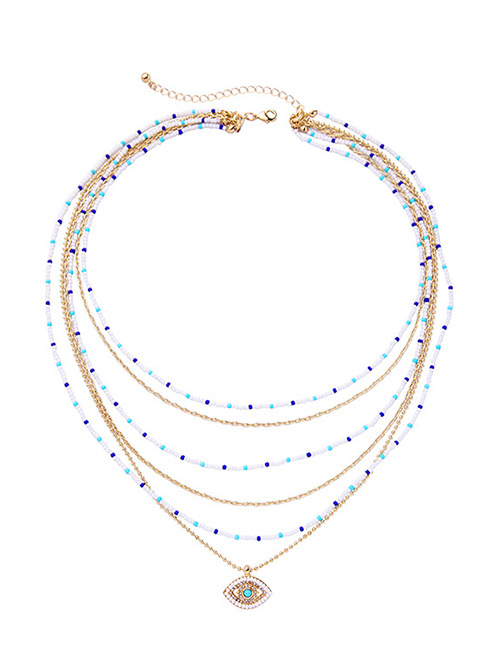 Fashion Multi-color Eye&beads Decorated Multi-layer Necklace