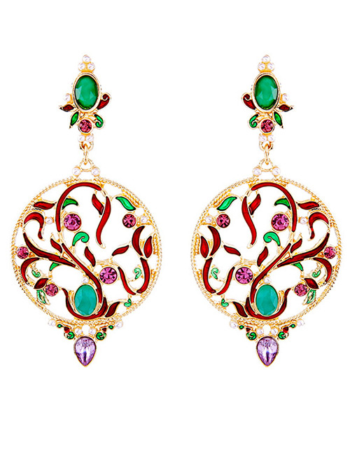 Fashion Multi-color Hollow Out Flower Decorated Earrings