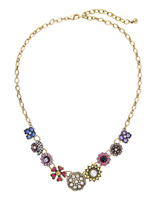 Fashion Multi-color Flowers Decorated Multi-lyaer Necklace