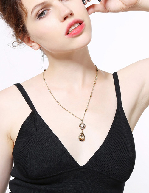 Fashion Gold Color Water Drop Shape Decorated Long Necklace