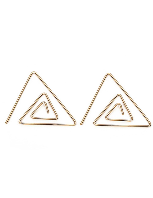 Fashion Gold Color Hollow Out Triangle Shape Design Earrings