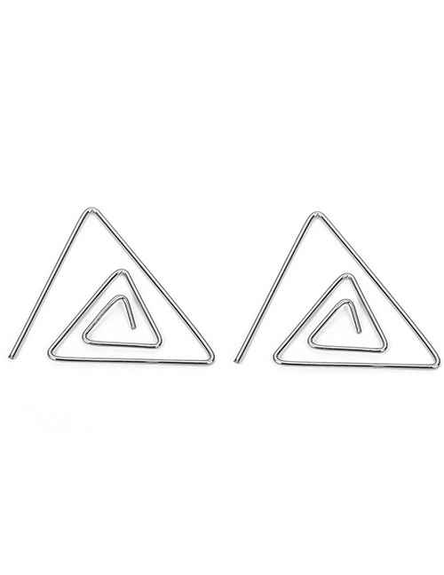 Fashion Silver Color Hollow Out Triangle Shape Design Earrings