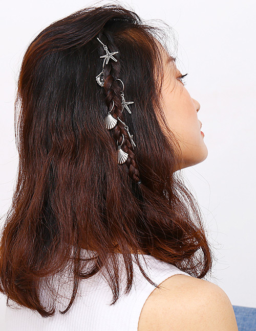 Fashion Silver Color Starfish&shell Decorated Hair Accessories(6pcs)