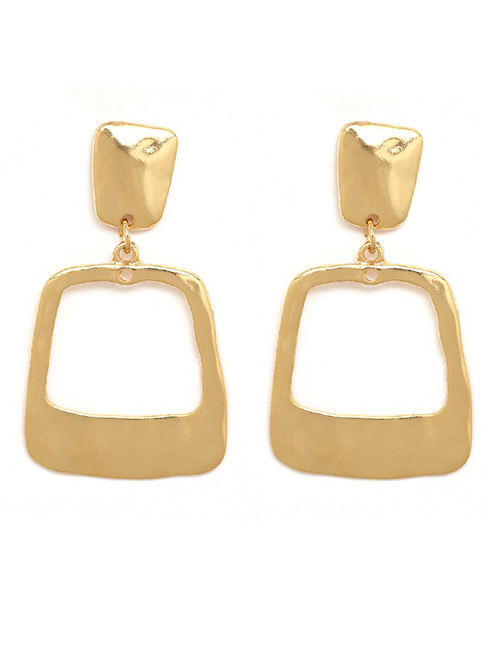 Fashion Gold Color Square Shape Design Pure Color Earrings