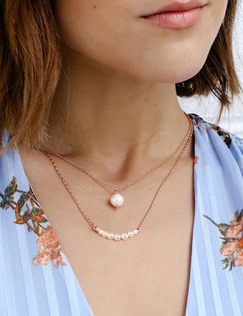 Fashion Gold Color Pearls Decorated Double Layer Necklace