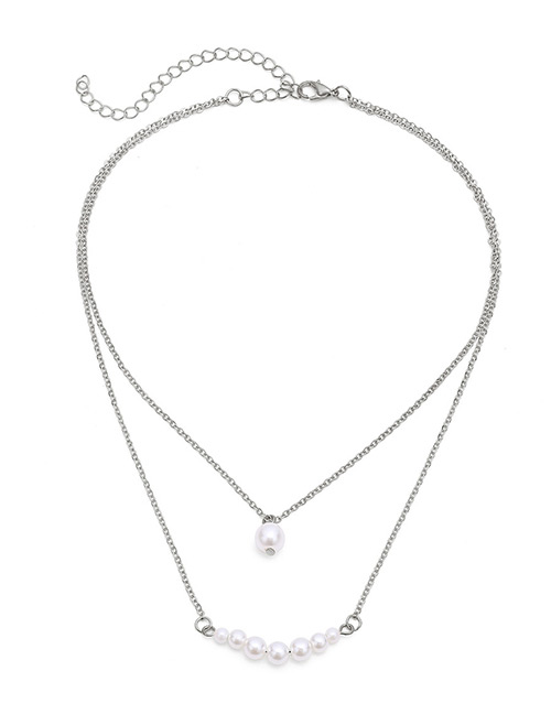 Fashion Silver Color Pearls Decorated Double Layer Necklace