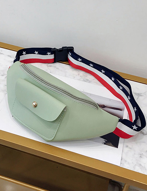 Elegant Light Green Pure Color Design Width Strap Bag