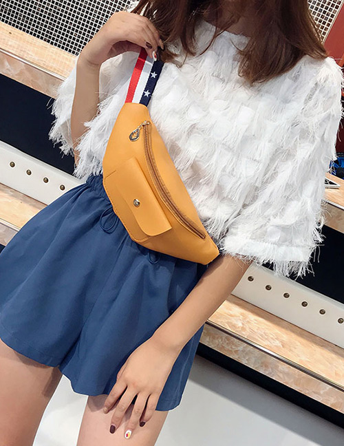 Elegant Orange Pure Color Design Width Strap Bag