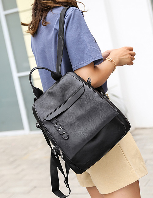 Elegant Black Pure Color Design Casual Backpack