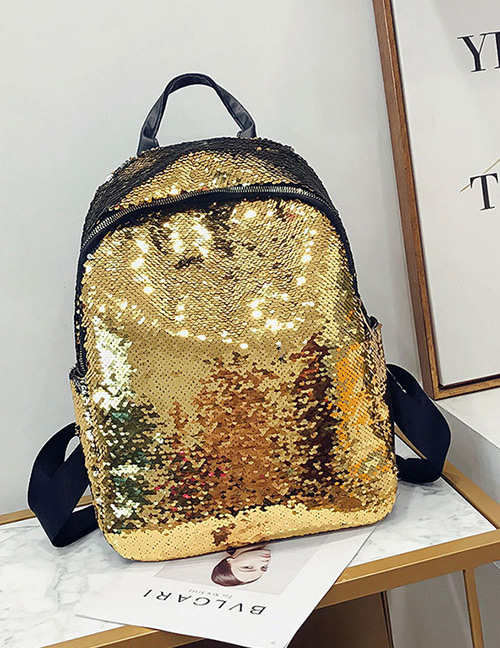 Elegant Gold Color Sequins Decorated Pure Color Backpack