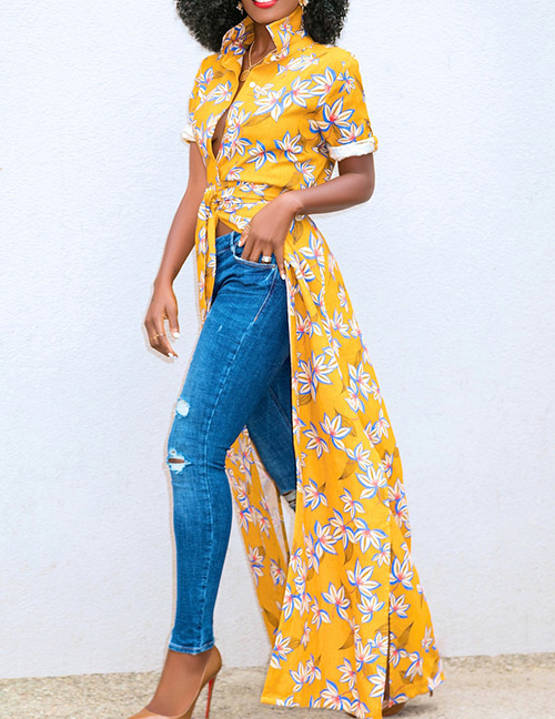 Sexy Yellow Flowers Pattern Decorated Short Sleeves Dress
