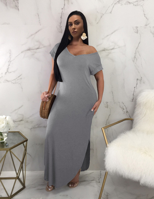 Sexy Gray Short Sleeves Design Pure Color Long Dress