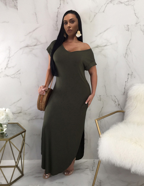 Sexy Olive Short Sleeves Design Pure Color Long Dress
