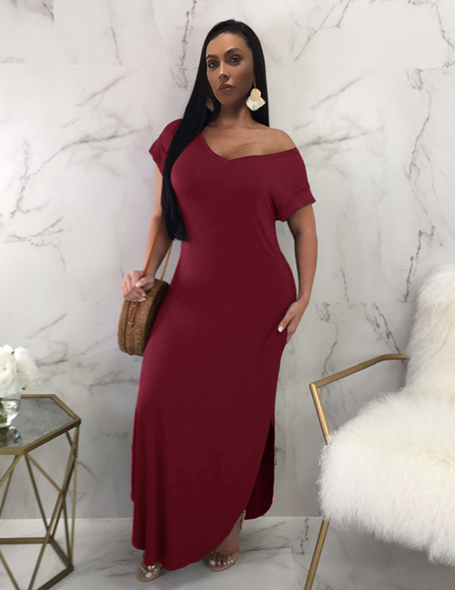 Sexy Claret Red Short Sleeves Design Pure Color Long Dress