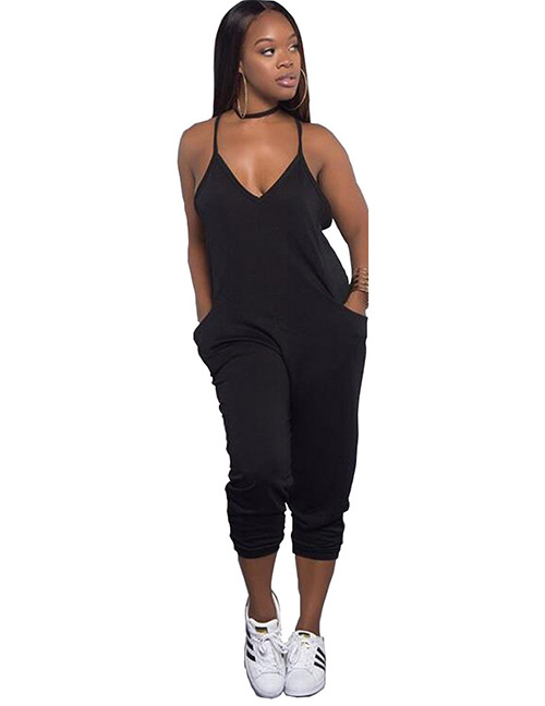 Sexy Black Pure Color Design Suspender Jumpsuit