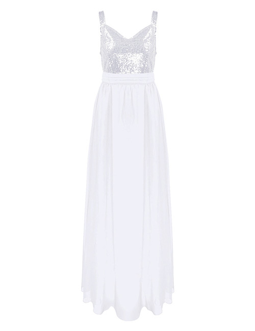 Sexy White Sequins Decorated Pure Color Long Dress