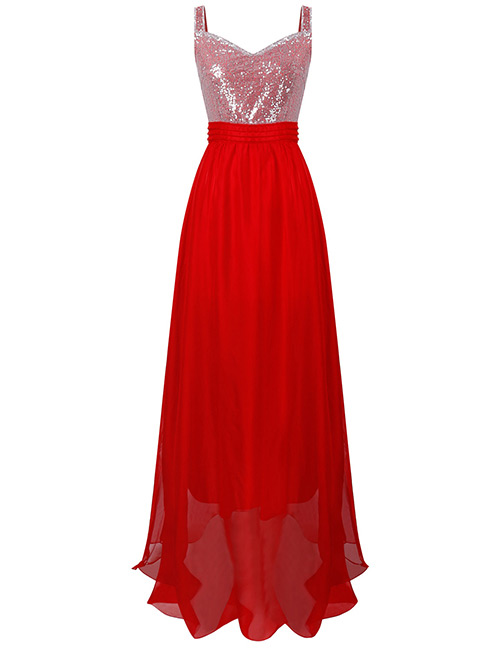Sexy Red Sequins Decorated Pure Color Long Dress