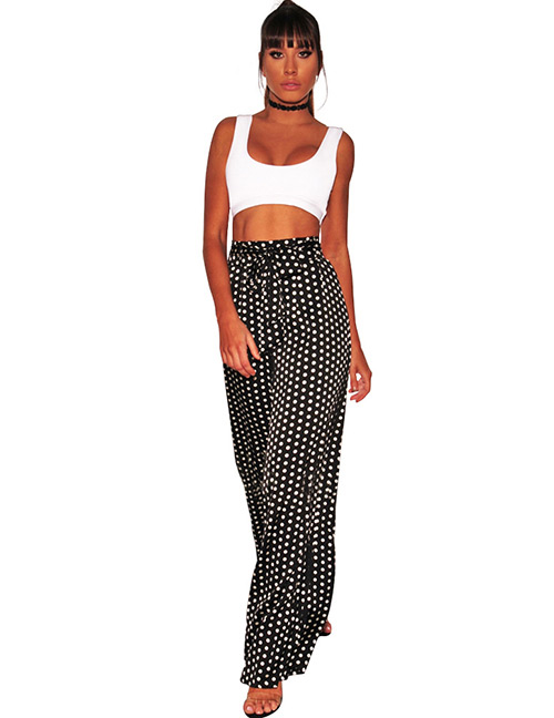 Sexy White+black Dots Pattern Decorated Wide-legs Pants