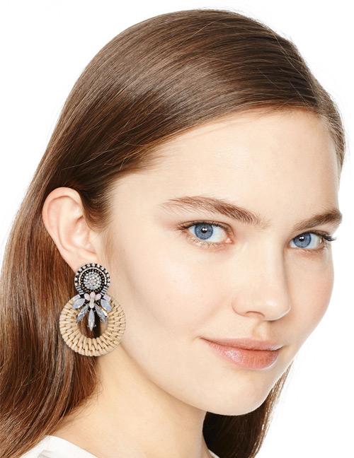 Elegant Milky White Diamond Decorated Circular Ring Earrings