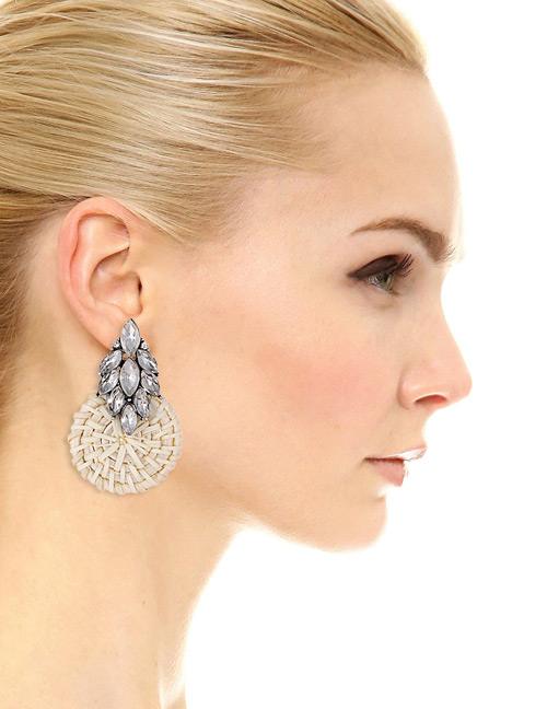 Elegant White Round Shape Design Simple Earrings