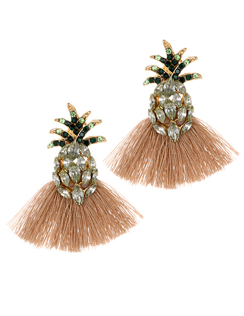 Elegant Khaki Pineapple Decorated Tassel Earrings