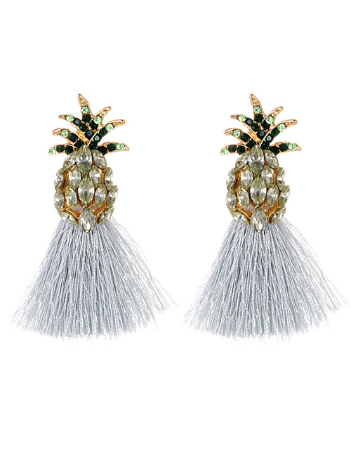 Elegant Gray Pineapple Decorated Tassel Earrings