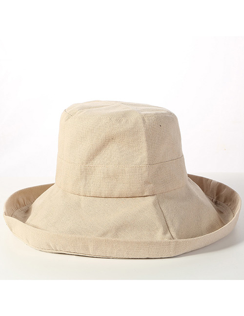 Trendy Beige Pure Color Design Sunscreen Fisherman Hat
