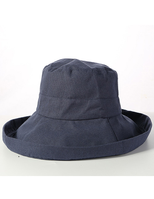 Trendy Navy Pure Color Design Sunscreen Fisherman Hat