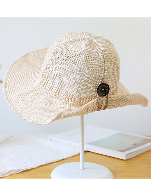 Trendy Beige Button Shape Decorated Sunscreen Fisherman Hat