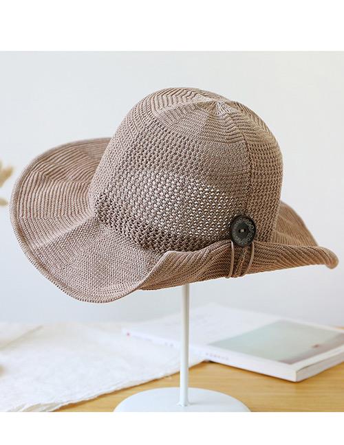 Trendy Khaki Button Shape Decorated Sunscreen Fisherman Hat