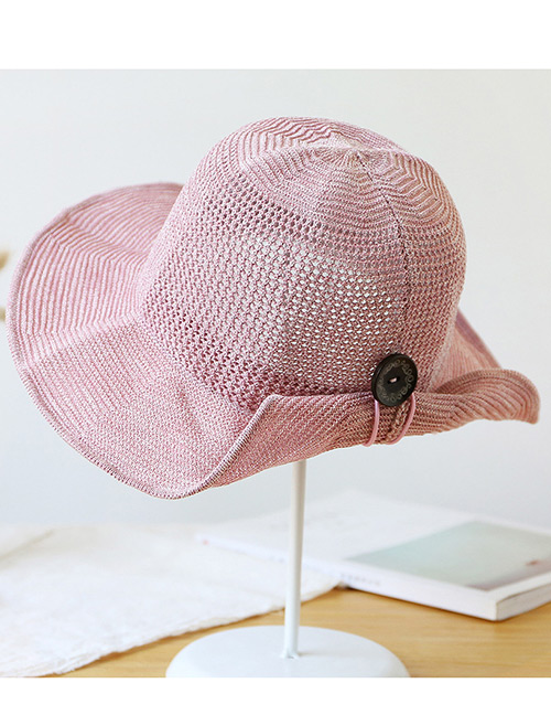 Trendy Pink Button Shape Decorated Sunscreen Fisherman Hat
