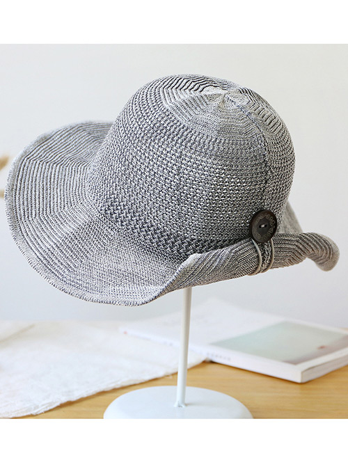 Trendy Gray Button Shape Decorated Sunscreen Fisherman Hat