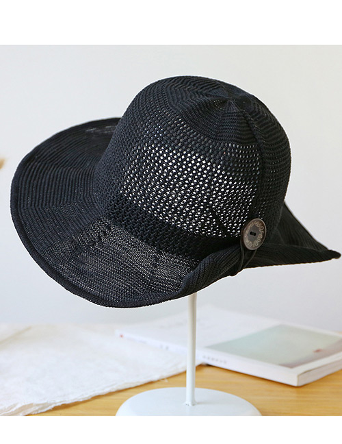 Trendy Black Button Shape Decorated Sunscreen Fisherman Hat