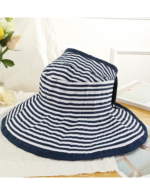 Trendy Navy Stripe Pattern Decorated Beach Hat
