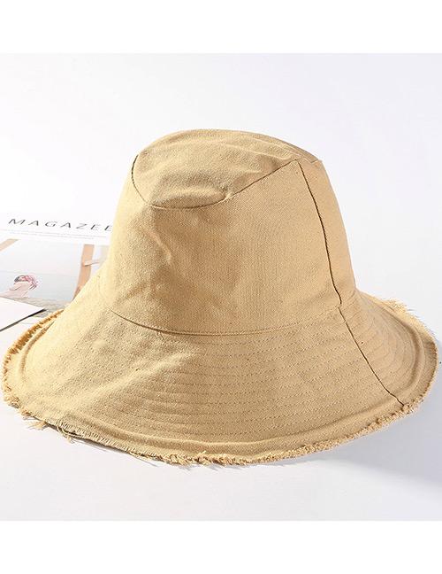Trendy Khaki Pure Color Design Foldable Sunscreen Hat