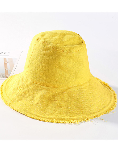 Trendy Yellow Pure Color Design Foldable Sunscreen Hat