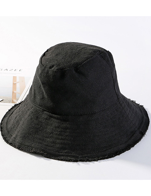 Trendy Black Pure Color Design Foldable Sunscreen Hat