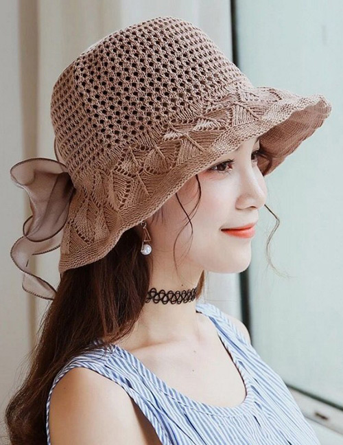 Trendy Khaki Bowknot Decorated Knitted Sunscreen Hat