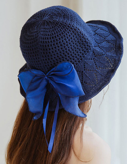 Trendy Navy Bowknot Decorated Knitted Sunscreen Hat