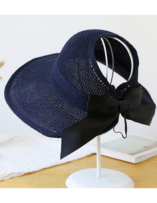 Trendy Navy Pure Color Decorated Bowknot Design Sunscreen Hat