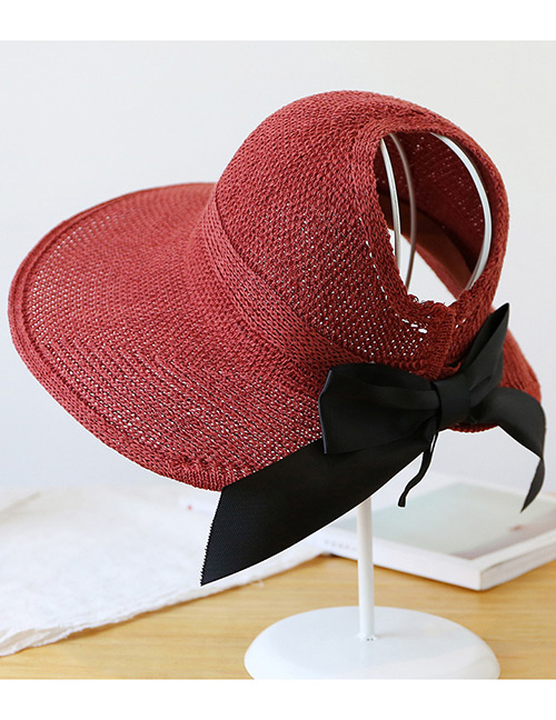 Trendy Claret Red Pure Color Decorated Bowknot Design Sunscreen Hat
