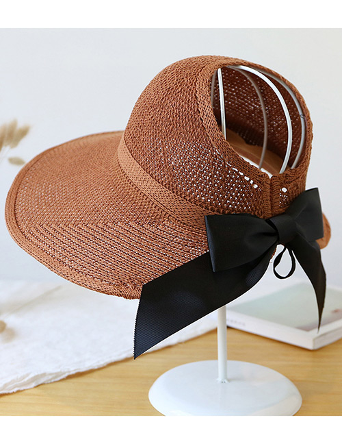 Trendy Brown Pure Color Decorated Bowknot Design Sunscreen Hat
