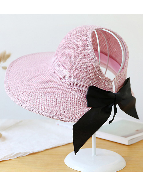 Trendy Pink Pure Color Decorated Bowknot Design Sunscreen Hat