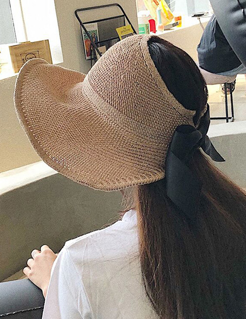 Trendy Khaki Pure Color Decorated Bowknot Design Sunscreen Hat