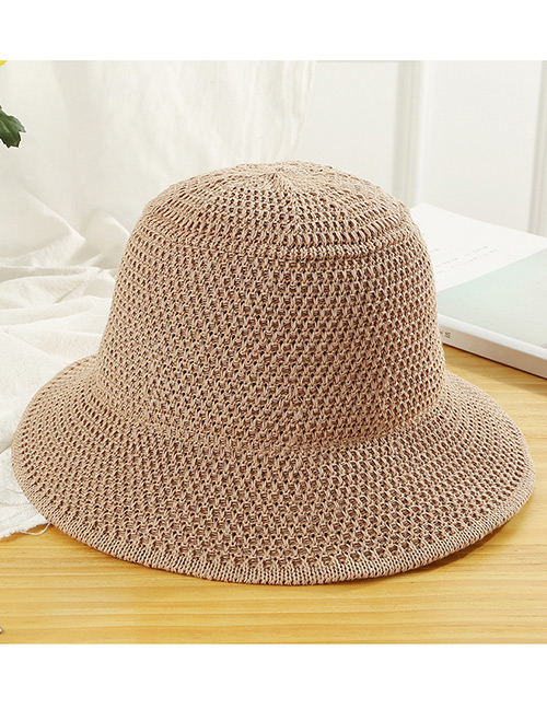 Trendy Khaki Knitted Design Pure Color Sunscreen Hat