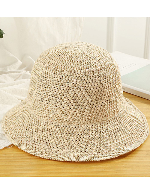 Trendy Beige Knitted Design Pure Color Sunscreen Hat