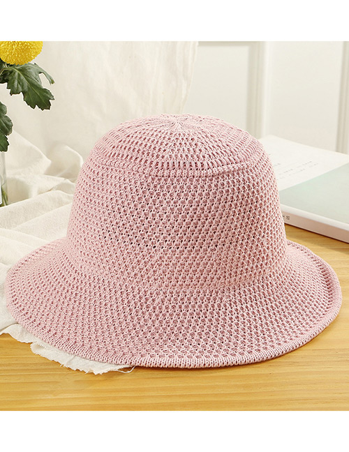 Trendy Pink Knitted Design Pure Color Sunscreen Hat